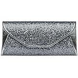CASPAR TA347 Damen elegante Glitzer Clutch Tasche/Abendtasche, Farbe:platin;Größe:One Size