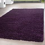 *Teppich* für Wohnzimmer günstig hochflor Shaggy Teppich mit verschiedenen Farben und Größen* Teppiche werden mit 100% PP Headset hergestellt. Gesamthöhe des Teppichs circa 30 mm. , Farbe:Lila, Größe:80x150 cm