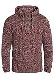!Solid Pierre Herren Winter Pullover Strickpullover Kapuzenpullover Grobstrick Pullover mit Kapuze, Größe:XXL, Farbe:Wine Red Melange (8985)