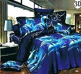 3D Tier Effekt Bilder 4Teile Bettwäsche komplett Set Dolphin 205Design 1Bettbezug 1Spannbettlaken 2Kissen Polyester Feel wie Daunen Größen Single Double King Super King, 100 % Polyester, 205, Doppelbett