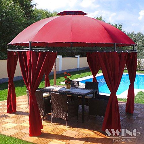 Swing & Harmonie LED - Pavillon 350cm Lavo - mit Seitenwänden und LED Beleuchtung + Solarmodul Runder Gartenpavillon Partyzelt Gartenzelt Rund (rot)