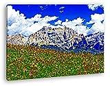 Blumenwiese in den Alpen Format: 80x60 Effekt: Zeichnung als Leinwandbild, Motiv fertig gerahmt auf Echtholzrahmen, Hochwertiger Digitaldruck mit Rahmen, Kein Poster oder Plakat