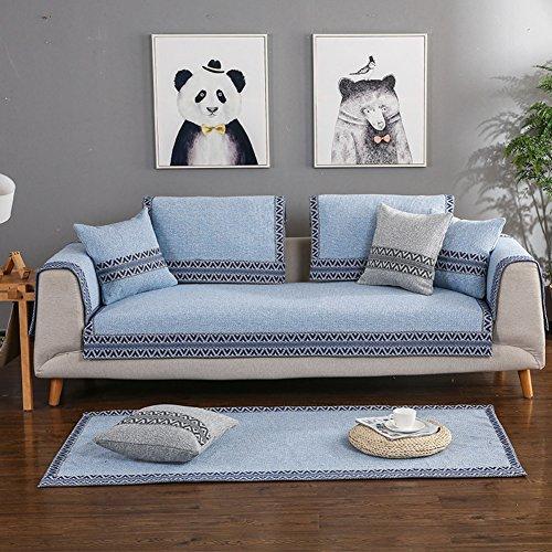 Dw&hx copertura divano cotone fodera per divano copridivano copertine componibile retro antiscivolo antimacchia decorazione sofa protettore cuscino copre per salotto-blu 90x120cm(35x47inch)