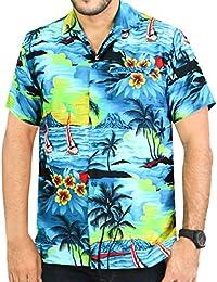 La Leela croisière aloha hawaïen bouton plage manches bas chemise courte caribbean turquoise xs - 5XL