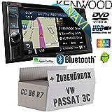VW Passat 3C CC B6 B7 - Autoradio Radio Kenwood DNX4180BTS - 2-Din NAVI | Bluetooth | CD/DVD | Apple CarPlay | Einbauzubehör - Einbauset