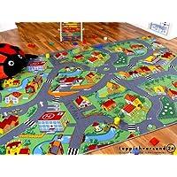 Alfombra carretera infantil de juegos - Pueblo pequeño - Verde - 17 tamaños