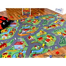 cb4511b9e Alfombra carretera infantil de juegos - Pueblo pequeño - Verde - 17 tamaños