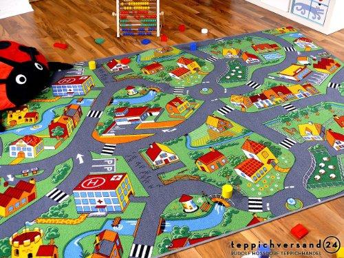 Alfombra carretera infantil de juegos - Pueblo pequeño - Verde - 17 t