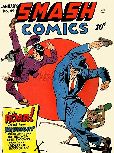 1949-magazin (MAGAZINE COVER 1949 SMASH COMICS FIGHT MEN MONKEY ART POSTER PRINT 18x24 INCH LV1780)