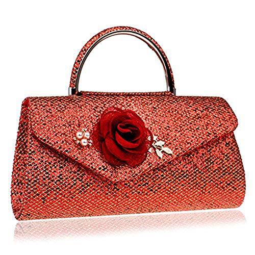 Crystal Abend Clutch Bag (QWhing Abend Clutch Bag Damen Flower Clutches Handtasche Sparkly Crystal Diamante Handtasche Classic Shoulder Messenger Bag, rot Handtasche Handtasche)