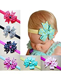 BESTVECH Satin Hairband/Hair Bow Accessories for Girl's (Pack of 10)