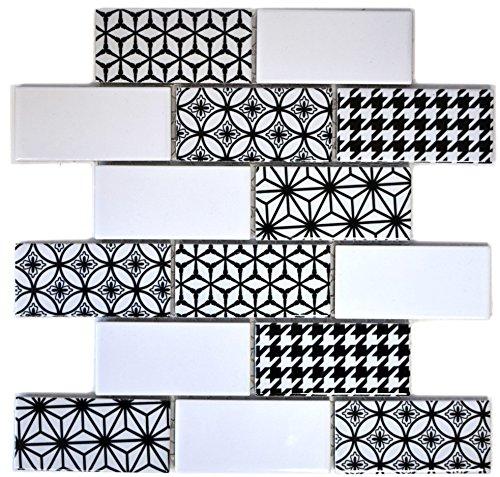 Mattonelle a mosaico in ceramica grigio mattonella Subway MISTO bianco lucido