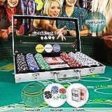 CCLIFE 300 500 PCS Pokerset Profi Pokerspiel inkl. Pokerdecks Dealer Button Poker Set Pokerchips Tischauflage Spielmatte, Größe:300 Chips