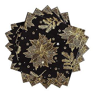 Servilletas de papel Whaline de Navidad, color negro con flores doradas, perfectas para fiestas de Navidad, bodas, cumpleaños, 33 cm x 33 cm (paquete de 60)
