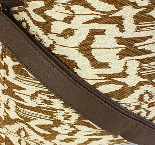 Damen Streifen Aztec Leinwand Große Kreuzschulter Frauen Tasche Handtasche Aztekisch