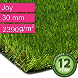 Kunstrasen Rasenteppich Joy für Garten - Florhöhe 30 mm - Gewicht ca. 2390 g/m² - UV-Garantie 12 Jahre (DIN 53387) - 2,00 m x 0,50 m | Rollrasen | Kunststoffrasen