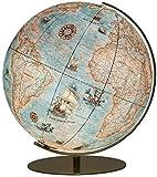 254071 Columbus IMPERIAL Leuchtglobus, 40 cm Kugeldurchmesser, handkaschiert, Vintage-Kartenbild mit handgezeichneten Illustrationen, matt messingfarbene Armatur: mit Lupe im klassischem Vintage-Stil
