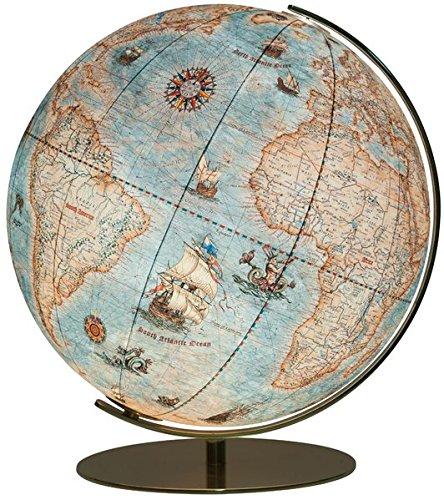 Preisvergleich Produktbild 254071 Columbus IMPERIAL Leuchtglobus, 40 cm Kugeldurchmesser, handkaschiert, Vintage-Kartenbild mit handgezeichneten Illustrationen, matt messingfarbene Armatur: mit Lupe im klassischem Vintage-Stil