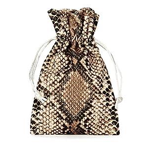 10 sacchetti di velluto, sacchetto di velluto, sacchetto per gioielli in elegante design a forma di serpente, dimensioni: 20 x 12 cm (altezza x larghezza) con cordino in velluto da tirare.