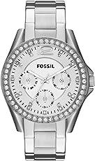 Fossil Riley Damen-Uhr  – Elegante Edelstahl Armbanduhr mit Strasssteinen - wasserfestes Quarz Uhrwerk inkl. Wochentags- & Datumsanzeige