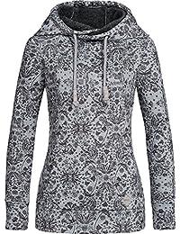 Sublevel Damen Kapuzen Sweatshirt LSL-290 Allover Blumen-Print