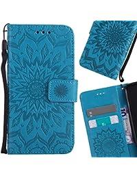 LEMORRY Huawei P8lite / ALE-L21 Funda Estuches Cuero Flip Billetera Bolsa Piel Protector Magnética Cierre TPU Silicona Carcasa Tapa para Huawei P8lite, Flor Azul