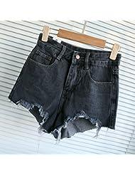 WHTLL-Pantalons Denim en Coréen Jeans Waist Broken Edge et taille irrégulière Pantalons Fringed Casual Casual