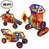 GBD 98 Pieces Magnetic Tiles Building Blocks Magnet Stacking Educational Toy Set Construction Kits For Kids Boys Girls Preschool Adults Birthday Gift