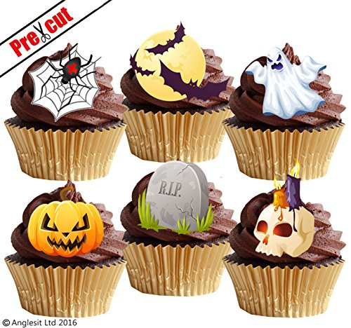 vorgeschnittenen Halloween Mix III. Spinnennetz Grave Gespenst Kürbis Totenkopf Moon essbarem Reispapier/Wafer Papier Cupcake Kuchen Topper Halloween Party (Dekoration Halloween Kuchen)