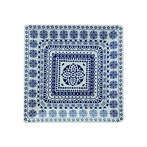 Fitz & Floyd IG31134 Blue Antico Square Platter-13 Serving Platter, White/Blue Floyd Serveware