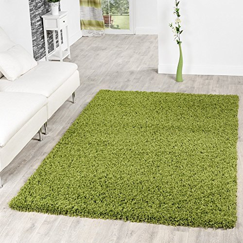 T U0026 T Design Living Room Long Pile Rug, Various Colours, Green, 70x140 Cm