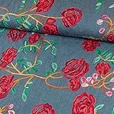 Stoffe Werning Jeans Tessuto con Ricamo fiori rose rosso Mode tessuti–prezzo si riferisce per 0,5meter -