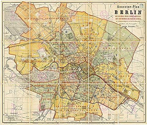 MAP 1874 STRAUBE BERLIN CITY STREET PLAN REPLICA POSTER PRINT PAM0350