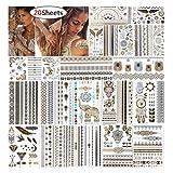 URAQT Tattoo Wasserdicht, Metallic Temporary Transfer Tattoos, 200 Designs Gold Silber Gefälschter Schmuck Body Art Sticker Art Fashion für Jugendliche Männer Frauen Kinder 20 Blatt