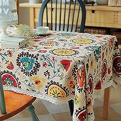 superwinger Vintage encaje flor del sol Mantel, lienzo de lino bordado Rectángulo lavable Dîner pic-nic ropa de mesa, talla A Juego, multicolor, 90x90 cm (36x36 inch)