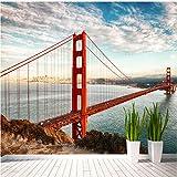 Guyuell Benutzerdefinierte Mural Tapete Für Wand 3D Geprägt Landschaft Moderne Architektur Rote Brücke Meerblick Fotowand Papier Für Wohnzimmer-300Cmx210Cm
