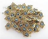 DIY lot of 25 Gold HAMSA HAND Evil Eye Lucky Charm Pendant Kabbalah Jewelry by Body-Soul-n-Spirit Bracelet