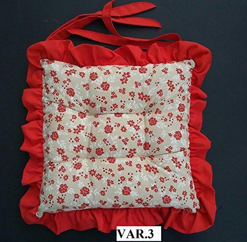cuscini sedie cucina set 2 pezzi tessuto cotone pesante con volant con laccetti trapuntato al centro misura cm 40 x 40 volant spessore 6 cm