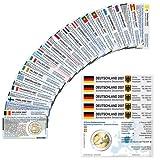 28 Münzkarten ohne Münze (16 Länder) von 2007 für 2-Euro Gedenkmünzen Größe: ca. 86 x 54 mm Material: Karton ca. 350g/m²