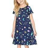 Camisones de Unicornio/Gatito/Estrella Manga Larga Camisón Estampado Camisón Ropa de Dormir 3-12 años Pijama Rosa/Azul/Blanca
