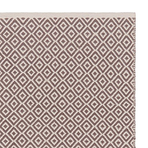 """URBANARA Teppich """"Tenali"""" – 100% Baumwolle, Grau/Eierschale mit Diamantmuster, handgewebt – 140 x 200 cm – 1 rechteckiger Teppich für Wohnzimmer/Esszimmer/Schlafzimmer/Kinderzimmer"""