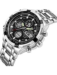 Reloj de pulsera analógico y digital de acero de lujo para hombre, color negro y