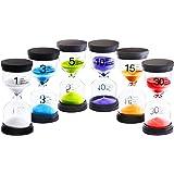 6 قطع من DARUNAXY ساعة رملية ملونة ومؤقت ساعة رملية ساعة رملية واحدة / 3 دقائق/5 دقائق/10 دقائق/15 دقيقة/30 دقيقة ساعة رملية