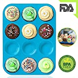 Muffinform Silikon 12er Muffin Backform, Amison Silikon Cookies Cupcake Bakeware Dose Seife Tablett Form antihaftbeschichtet Muffin Pfanne, BPA frei, Spülmaschinenfest