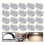 Hengda® 20 pcs 7W LED EinbauleuchteUnterbauleuchte Dimmbar Warmweiß Küchenlampen für Flur Wohnzimmer Schlafzimmer mit SMD Strahler set Einbauspot