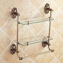 Todos Cobre Antique European Vanity Mirror Cuarto de Baño Cuarto de Baño Toalla Estante Cuarto de Baño Accesorios de Baño