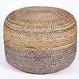 PRINTSHOPPIE Decor Jute Pouf|Ottoman|footrest (Jute Pouf) Sitting Round Ottoman Bean Filled Pouf (Beige-Grey) (40x40x40)