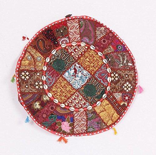 Bohemian Indien traditionnel patchwork Pouf rond grand Siège Ottoman Pouf