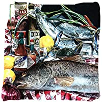 Fish and Beers from New Orleans tessuto decorativo Cuscino
