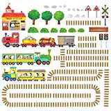 Decowall DW-1504 Trains & Rails Autocollants Muraux Mural Stickers Chambre Enfants Bébé Garderie Salon